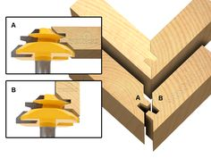 Joinery :: Glue Joint :: Miter Glue Joint :: Set of 3 Lock Miter 45 Degree Glue Joint Router Bits - 15334