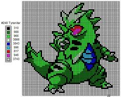 248 Tyranitar by cdbvulpix.deviant… on 248 Tyranitar by cdbvulpix. Tyranitar Pokemon, Pokemon Pokedex, Pokemon Craft, Art Pokemon, Pokemon Cross Stitch, Pokemon Perler Beads, Hama Beads, Pixel Art Grid, Pixel Art Templates