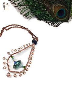 Peacock Beauty- one of a kind-peacock feather pendant necklace - Wedding nacklaces (*Amazon Partner-Link)
