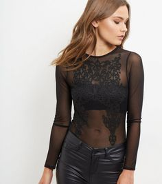 Blue Vanilla Black Embroidered Sheer Bodysuit | New Look