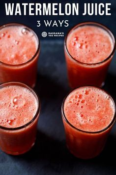 There's nothing quite like Watermelon Juice to cool, refresh you while quenching your thirst. Here's 3 ways to make watermelon juice recipe. Veg Recipes Of India, Indian Food Recipes, Detox Recipes, Smoothie Recipes, Mushroom Dish, Tasty Vegetarian Recipes, No Cook Meals, Cooking Recipes, Cooking Food