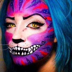 I like the nose and how the whole face is painted Cheshire Cat Makeup, Cheshire Cat Costume, Fox Makeup, Chesire Cat, Cheshire Cat Face Paint, Makeup Art, Fairy Makeup, Mermaid Makeup, Pretty Halloween