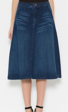 Charm is a classy A-line tea length denim skit with front pockets available in XS-L