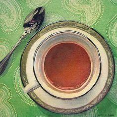 "Daily Paintworks - ""Pomegranate Tea"" - Original Fine Art for Sale - © Kara K. Bigda"