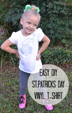 Easy DIY St.Patricks Day Vinyl T-shirt. No machine required! www.momswithoutanswers.com