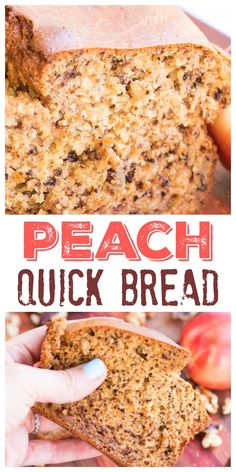 You are going to LOVE this peach walnut quick bread recipe, and you can even make it right in your blender! Best Breakfast Recipes, Best Dessert Recipes, Raw Food Recipes, Baking Recipes, Delicious Desserts, Yummy Food, Baking Breads, Yummy Treats, Peach Quick Bread
