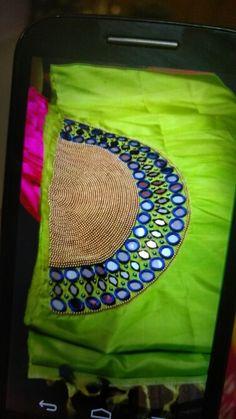 Mirrow wroke in silk saree