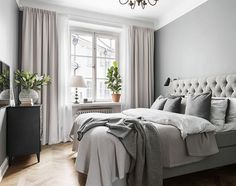 13 Cool Gray Bedroom Ideas to Your Bedroom - Bedroom Design Gray Bedroom, Home Decor Bedroom, Bedroom Furniture, Bedroom Curtains, Bedroom Ideas, Long Curtains, Master Bedroom, Beige Curtains, Asian Furniture