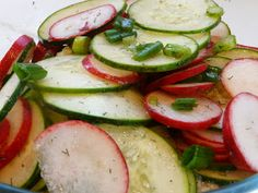 Red Radish & Cucumber Salad .....1 lb red radishes, sliced thin....... 1 lb cucumber, sliced thin....... 1/3 c green onion...... 1/2 c rice wine vinegar...... 2 tbsp extra light olive oil...... 4 tbsp lemon juice....... 4 tsp fresh dill....... few drops of stevia or sweetener of choice...... salt and pepper to taste......  Combine condiments in a bowl and mix well. Toss with the veggies.