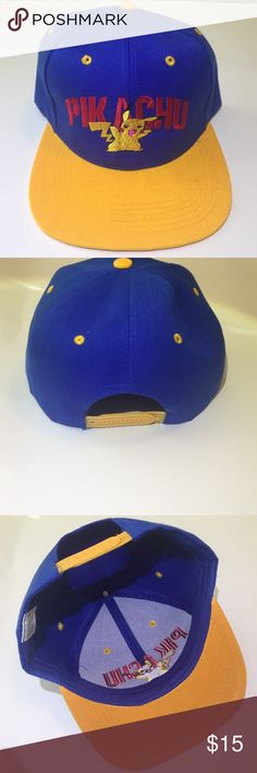 Pikachu SnapBack Hat -great condition! -worn once -Features Pikachu! -SnapBack Hat Pokemon Accessories Hats