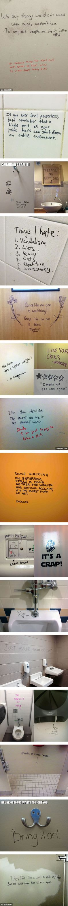 Brilliant Toilet Graffiti - They paint this wall to hide my pen, but the shit house poet strikes again