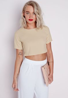 Missguided - Capped Sleeve Crop Top Taupe