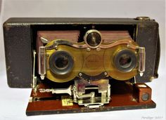 Extremely rare - Blair Stereo Hawk-Eye No.2 - Rollfilm camera for 3 1/4 x 3 1/4 images with Bausch & Lomb Automat Stereo shutter (1904-1907)