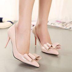 Women Sexy Pointed Toe Big Bowknot Patent Leather Party High Heel Pumps Shoes