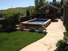 Rolling hills in the background make for a great view after some exercise in this Endless Pool. Side Yard Landscaping, Landscaping Ideas, Pool Ideas, Backyard Ideas, Endless Pools, Swimming Pool Decks, Small Pool Design, Pool Workout, Small Pools
