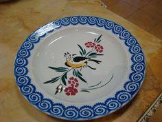 PIATTO GRANDE CERAMICA MONDOVI uccello fiori 2a. metà '800 blu collezionismo