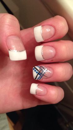 french manicure with black silver line   ... nails with a silver line going across them all made of silver glitter