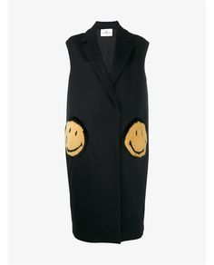 ANYA HINDMARCH Smiley Oversized Virgin Wool Blend Sleeveless Coat