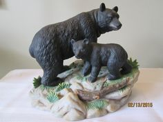 Vintage Black Mother Bear and Cub, Woodland Animals, Forest Animals, Home Decor, Porcelain Figurine, by chulapoe on Etsy