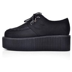 Sexy Black Handmade Leather Ladies Lace UP Flat Double PlatForm... (39 AUD) ❤ liked on Polyvore featuring shoes, creepers, goth, platform, creeper shoes, leather flat shoes, black platform shoes, black flat shoes and wedge shoes