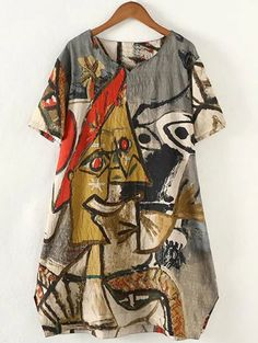 Retro Style Plus Size Abstract Pattern Baggy Dress