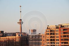 Euromast tower of Rotterdam, the Netherlands at sunrise