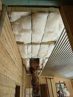 corrugated iron ceiling with insulation