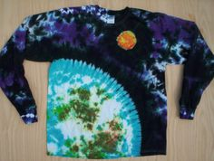 Planet Tie Dye Long Sleeve Size XL by tiedyetodd on Etsy, $40.00