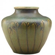 """Arts & Crafts Vase. Glazed Pottery. Circa 1900-1910. 8-1/2"""" x 9"""". In the Manner of Marblehead Pottery."""