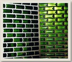 Best 12 Bottle Gate Gate made with used wine bottles lighted at night with RGBW LED s Wine Bottle Wall, Bottle House, Bottle Garden, Lighted Wine Bottles, Bottle Lights, Bottle Art, Bottle Crafts, Glass Bottles, Beer Bottle