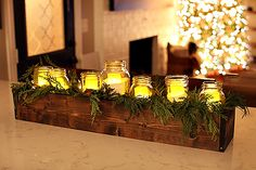 Diy Table Centerpieces Rustic Wooden Boxes 30 Ideas For 2019 Rustic Table Centerpieces, Wooden Box Centerpiece, Christmas Centerpieces, Christmas Decorations, Table Decorations, Centrepieces, Rustic Wooden Box, Wooden Boxes, Christmas Tabletop