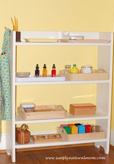 Our summer Montessori shelves at Simply Natural Mom.