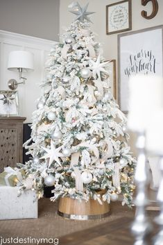 Affordable Flocked Christmas Tree_