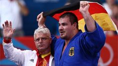 Andreas Toelzer of Germany celebrates his bronze medal in the men's +100 kg Judo on Day 7 of the London 2012 Olympic Games at ExCeL