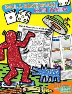 """Keith Haring Art History Game - Would you like to get your elementary-aged students excited about art history? Looking for a way to study a famous artist in a whole new way? Want to fill up your sub folder with easy """"one day, fun day"""" activities that require minimal set-up and ease of use? Take a look at this fun roll-a-dice game. LINK: https://www.teacherspayteachers.com/Product/Roll-A-Masterpiece-Keith-Haring-Art-History-Game-2083021 #art"""
