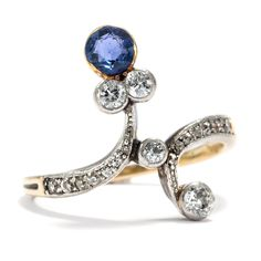 Der Zeit ihre Kunst - Großer Jugendstil-Ring mit Saphir & Diamanten, Wien um 1905 von Hofer Antikschmuck aus Berlin // #hoferantikschmuck #antik #schmuck #antique #jewellery #jewelry
