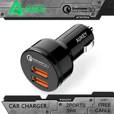AUKEY Universal Car-Charger Qualcomm Quick Charge 3.0 2 Port Support QC3.0 36W USB Car Charger For Samgsung Xiaomi iPhone lg etc