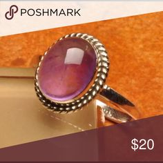 New Sterling Silver Natural Amethyst Oval Ring Solid Sterling Silver Marked .925 Natural Gemstone Amethyst Ring Sterling Silver Jewelry Rings