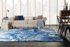 TWILIGHT TWI24 BLUE/IVORY AREA RUG Blue And White Rug, Blue Ivory, Beige Living Rooms, Rugs In Living Room, Ocean Bedroom, Modern Masters, Modern Rugs, Rug Size, Contemporary Design