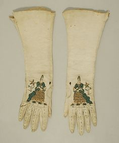 Gloves Date: late 18th century Culture: British Medium: leather, silk