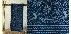 Indigo dabu printed ~ Cotton Saree ~ 7
