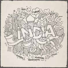 """Buy 3 India Doodles by balabolka on GraphicRiver. """"India"""" hand lettering and doodles elements background. Coloring Canvas, Doodle Coloring, Mandala Coloring Pages, Coloring Book Pages, Zentangle, Black And White Doodle, 2 Baby, Doodle Art Drawing, Doodle Wall"""