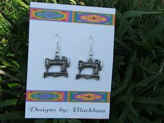 Singer Sewing Machine charms dangle from sterling silver earwires, affordable with quality findings.