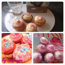 coffee cupcakes, strawberry cupcakes, raspberry cupcakes