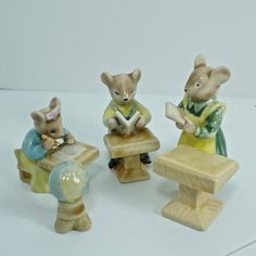School Mouse Figurines  - Country Mice - ceramic