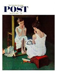 """""""Girl at the Mirror"""" Saturday Evening Post Cover, March 6,1954 Giclee Print by Norman Rockwell at Art.com"""