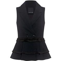 Marissa Webb - Colton Crepe Fringe Vest ($498) ❤ liked on Polyvore featuring outerwear, vests, double breasted waistcoat, vest waistcoat, sleeveless waistcoat, double breasted vest and fringe vests
