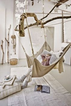Savvy and Inspiring indoor hanging hammock chairs just on neuron home design Indoor Hammock, Hammock Swing, Hammocks, Hammock Balcony, Hanging Hammock, Hanging Chairs, Hammock Chair, Hanging Basket, Indoor Outdoor