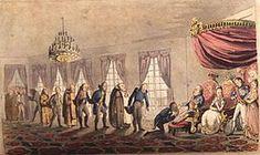 Registro da cerimônia do beija-mão na corte carioca de D. João, um costume típico da monarquia portuguesa - João VI de Portugal – Wikipédia, a enciclopédia livre
