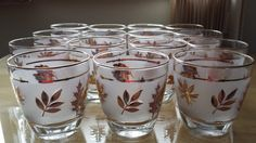 Party Time  Libbey Gold Leaf  Mid Century by VintageRoseandLace